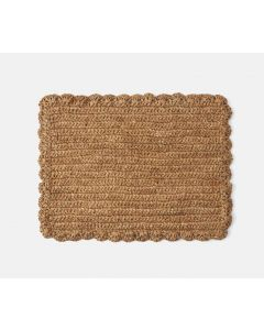 Set of 4 Rectangular Sisal Placemats With Scalloped Edges
