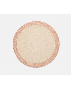 Set of 4 Round Natural & Pink Cotton and Jute Woven Placemats