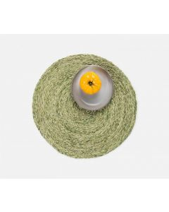 Set of 4 Round Pale Green Raffia Placemats