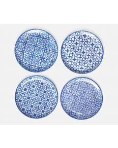 Set of 4 Blue and White Mixed Patterns Salad/Dessert Plates