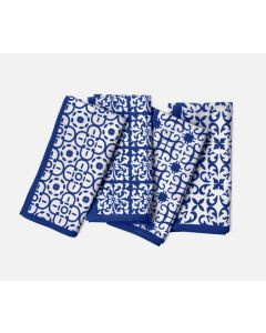 Set of Four Blue and White Assorted Designs Cotton Napkins