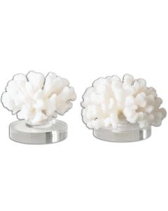 Set of Two Cream Finished Coral Sculptures with Crystal Base