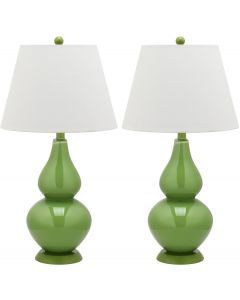 Set of 2 Glossy Double Gourd Table Lamps in Fern Green