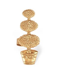 Set of 12 Gold Topiary Napkin Ring Holders in Gold