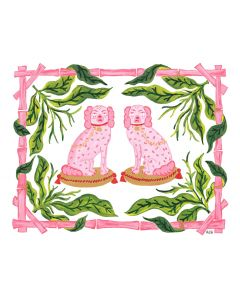 Set of 12 Pink and Green Palm Beach Puppies Note Cards