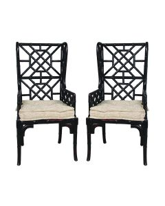 Set of 2 Bamboo Trelliage Wing Back Chairs in Black  - LOW STOCK