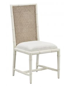 Cream Bamboo Dining Side Chair With Cane Back