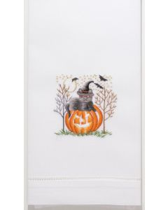"""Set of 2 Embroidered """"Cat-O-Lantern"""" Halloween Hand Towels"""