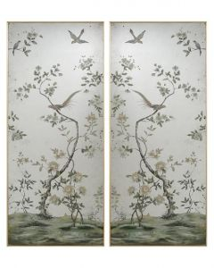 Set of 2 Hand Painted Chinoiserie Roku Mirror Panels - ON BACKORDER UNTIL LATE MAY 2021