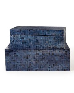 Set of 4 Blue Mother of Pearl Shimmering Decorative Covered Boxes with Herringbone Pattern - ON BACKORDER UNTIL MID JULY 2021
