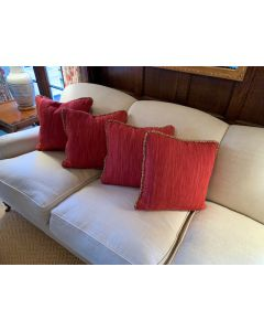 Red Custom Scalamandre Pillows - 4 Available - IN STOCK IN GREENWICH, CT FOR QUICK SHIPPING