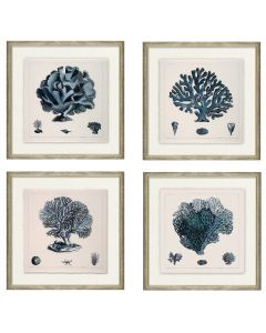Set of Four Blue Coral Wall Art