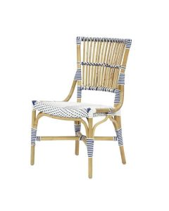 Set of Two White and Navy Blue Bistro Natural Woven Side Chairs - ON BACKORDER UNTIL NOVEMBER 2021