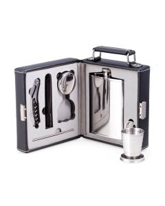 Seven Piece Mini Bar To Go, with Black Leather Carrying Case