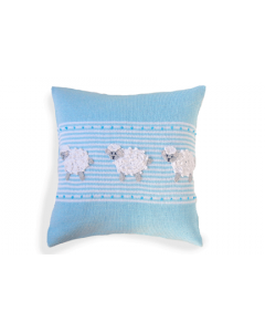 Blue and White Sheep Design Baby Pillow