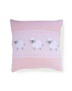Pink and White Sheep Design Baby Pillow