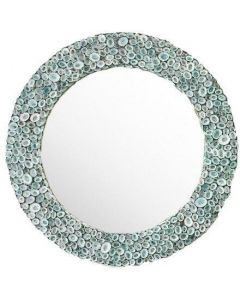 Coastal Shell Round Beveled Beach House Wall Mirror - Available in Two Colors