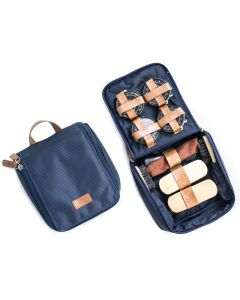 Shoe Shine Kit in Blue Ballistic Nylon with Brown Accented Zippered Case