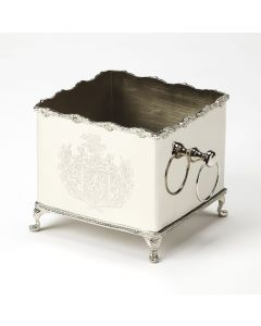 Silver Hued Brass Box Planter with Legs and Engraving Detail