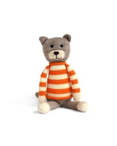 Sitting Cat in Sweater Knit Stuffed Animal for Kids
