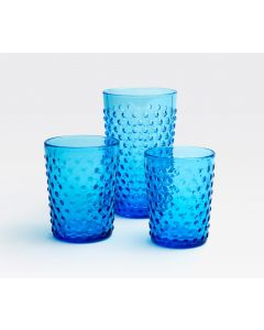 Clear Raised Dot Surface Hand Blown Glasses in True Blue