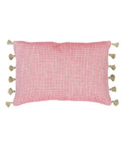 Squiggly Pattern Lumbar Pillow with Tassel Fringe Trim Detail - OUT OF STOCK