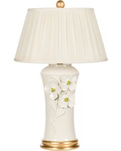 Spring Flowers White Ceramic Table Lamp with Gold Base
