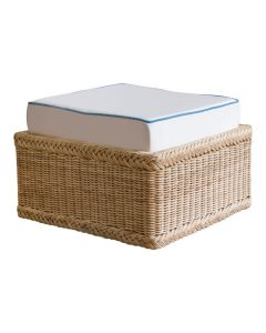 Square Braided Wicker Ottoman with Cushion - Available in a Variety of Colors and Cushion Fabrics
