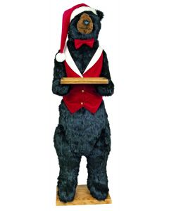 Standing Life Sized Christmas Bear in Red Butler Costume