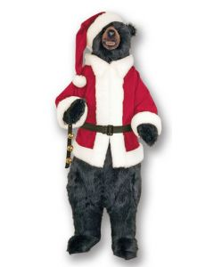 Standing Life Sized Christmas Bear in Santa Costume and a Smile