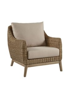Stone Weave Rattan Club Chair with Old Gray Frame and Cushion