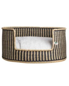 Striped Elephant Grass Basket Dog Bed - Available in Two Sizes