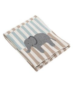 Striped Elephant Themed Knit Baby Blanket