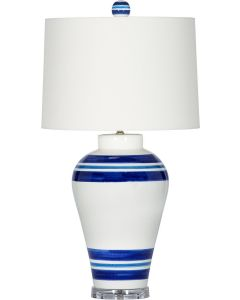 Striped Blue and White Ceramic Table Lamp with White Shade and Clear Base
