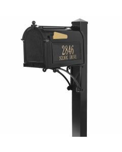 Standing Mailbox with Deluxe Post, Brackets, & Personalized Side Plaques - Black