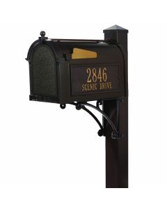 Standing Mailbox with Deluxe Post, Brackets, & Personalized Side Plaques - Bronze