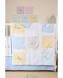 Sweet Pea and Animals Embroidered Quilt for Toddlers