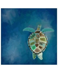 Swimming Sea Turtle Blue and Green Canvas Wall Art for Kids