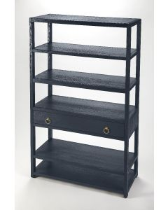 Tall Navy Blue Bookcase With Gold Pulls, Five Shelves and One Drawer