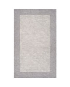 Taupe and Gray Hand Loomed Wool Rectangular Rug with Border, Available in a Variety of Sizes