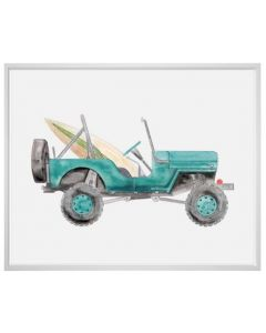 Teal Jeep With Surfboard Canvas Children's Wall Art