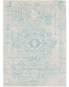 Teal and Beige Distressed Design Area Rug - Available in a Variety of Sizes