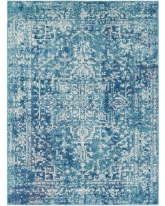 Teal and Dark Blue Area Rug  Available in a Variety of Sizes