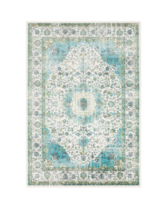 Teal, Olive, and Ivory Abstract Design Area Rug - Available in Two Different Sizes