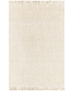 Textured Cream Hand Woven Jute Rug with Fringe, Available in a Variety of Sizes