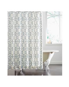 Blue Bamboo Fret Linen Shower Curtain - LOW STOCK - CALL TO CONFIRM AVAILABILITY