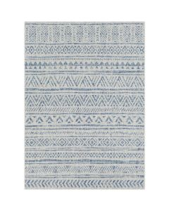 Tribal Diamond Indoor/Outdoor Area Rug in Denim Blue and Grey, Available in a Variety of Sizes