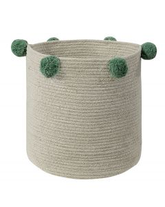 Washable Woven Cotton Natural Nude Storage Basket with Green Pom Poms - OUT OF STOCK