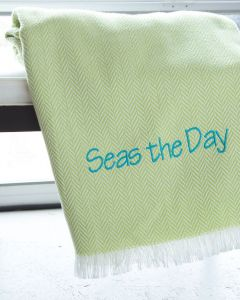 Unbrushed Herringbone Fringed Throw - Available in a Variety of Colors - Can Be Personalized