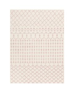 BARGAIN BASEMENT ITEM: Dusty Pink and Cream Machine Woven Area Rug - IN STOCK IN GREENWICH FOR QUICK SHIPPING